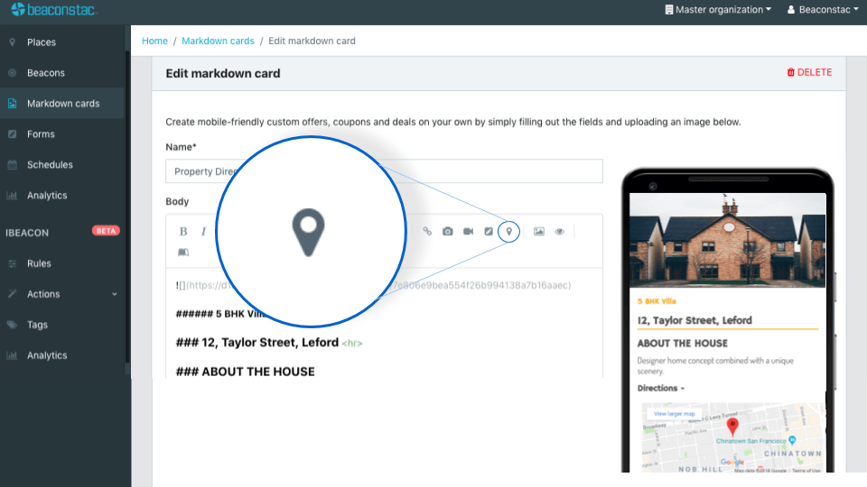 Embed Google Maps on beacon marketing campaigns