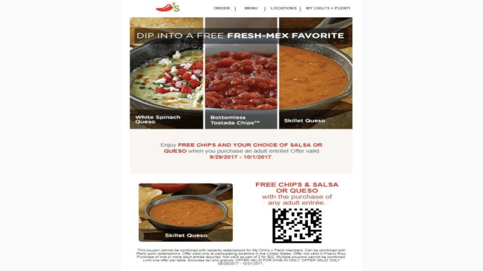 Chili's uses QR codes for raising funds and making scannable menus