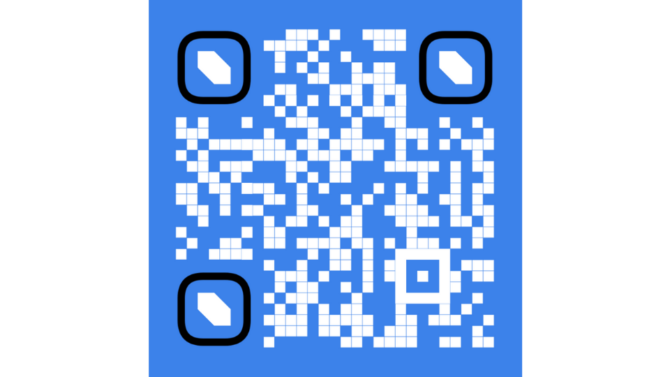 A white QR Code with a dark background