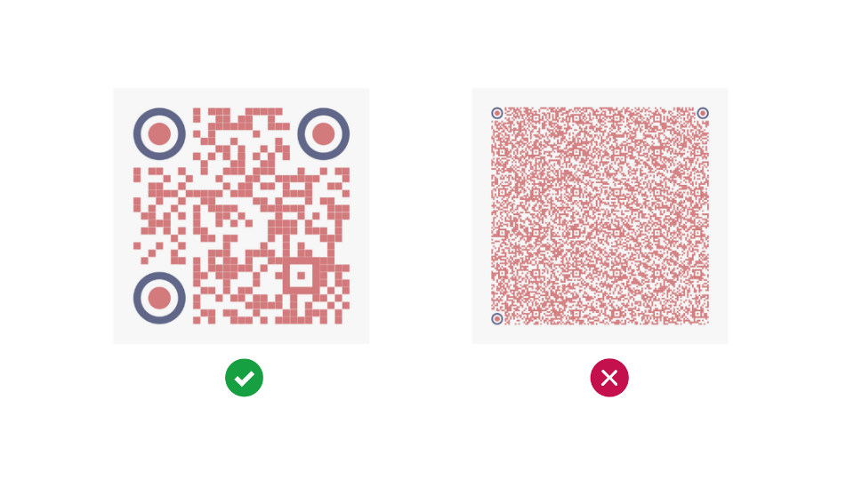Uncluttered QR code with short URL vs Cluttered QR code with long URL