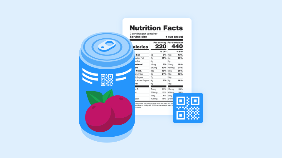 QR Codes to display nutritional information, ingredients, and allergens