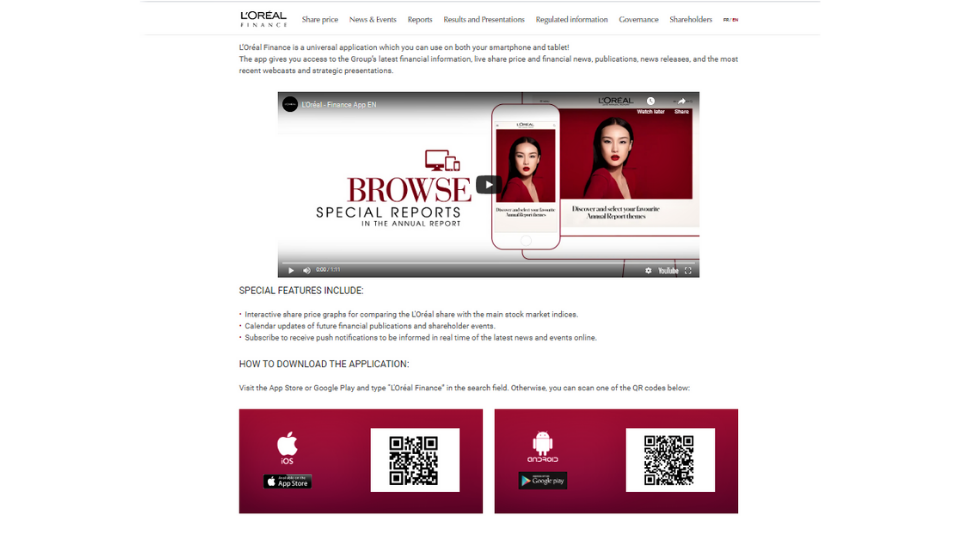 L'Oreal QR Codes on print ads to boost app downloads