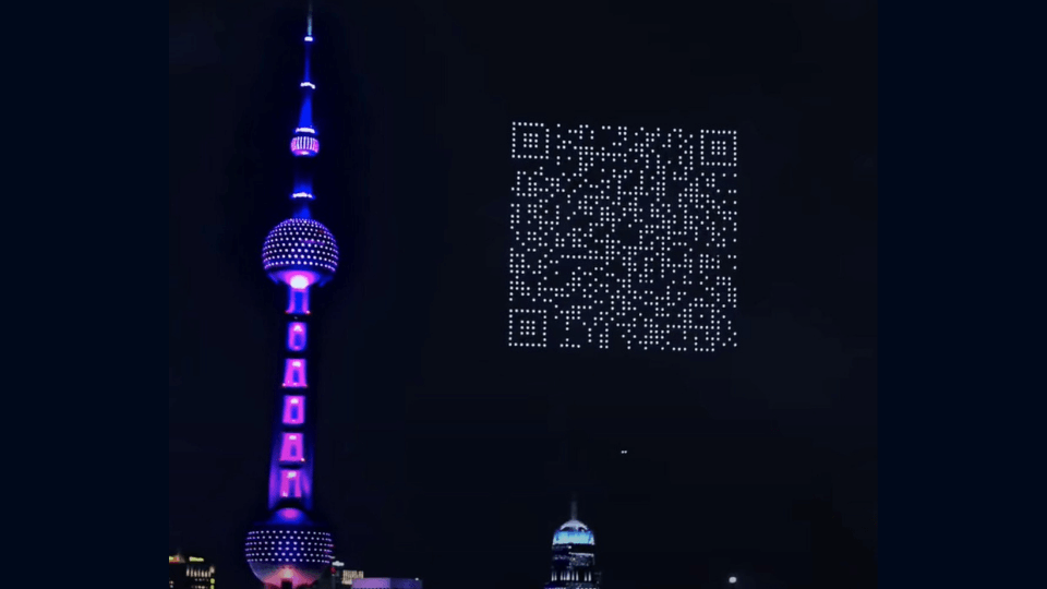 Cygames used drones to form a giant QR Code in the sky in Shanghai