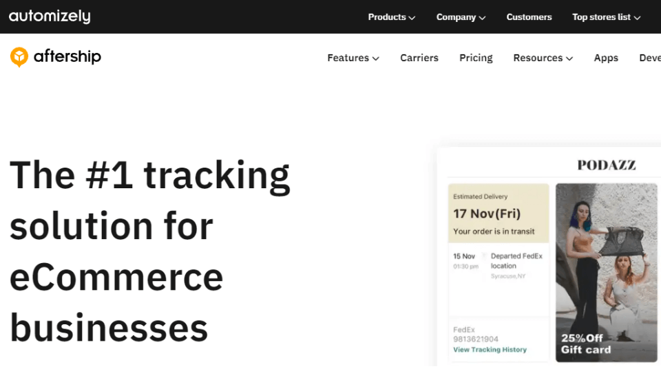 Aftership is a leading eCommerce tracking solution
